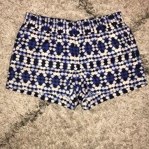 Never worn J.Crew blue patterned shorts